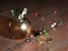 玻璃花瓶,插花,玛瑙,3D场景模型