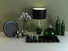 台灯,玫瑰花,蜡烛,玻璃艺术品,装饰品3D模型