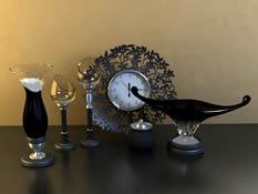 钟表,玻璃杯,艺术品,装饰品3D模型