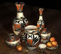 苹果,陶罐,陶器,花纹陶瓷艺术品3D模型
