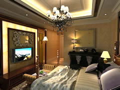 欧式豪华卧室3D模型(带材质)
