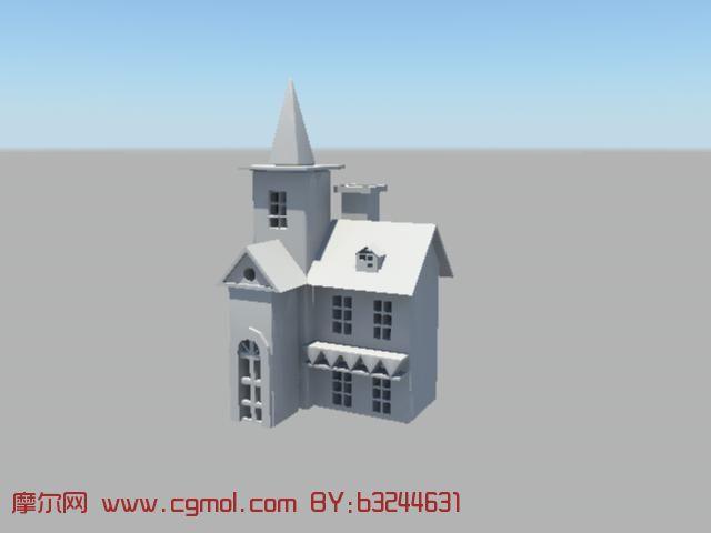教堂式房屋 maya建筑 模型 高清图片