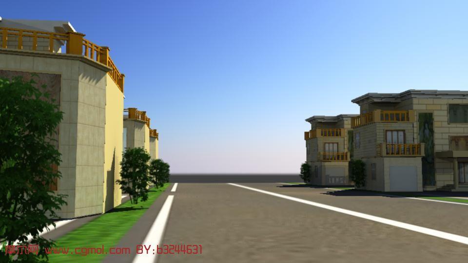 别墅群,maya建筑模型