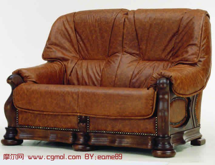 复古深色双人沙发3D模型