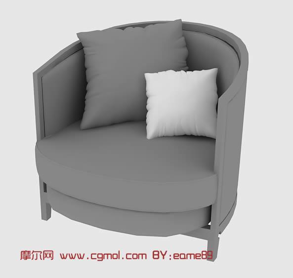 木制沙发椅3d模型,室内家具