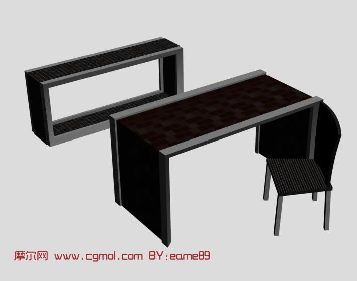 简易桌子,椅子组合3D模型