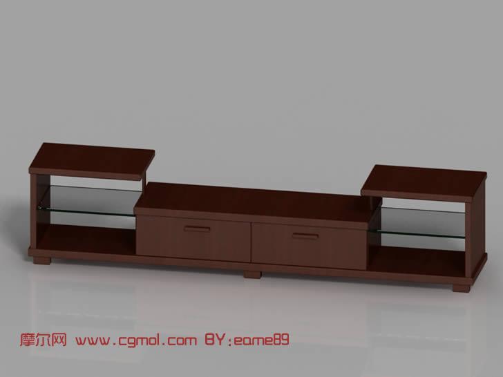 简约木质电视柜,3D家具模型