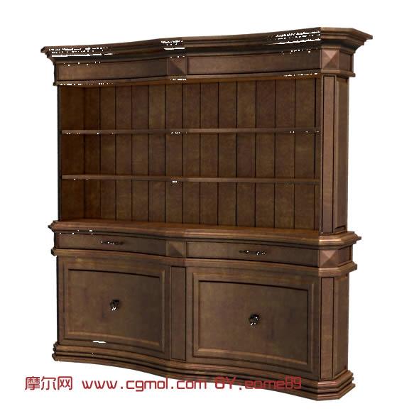 欧式古铜色木质橱柜3D模型