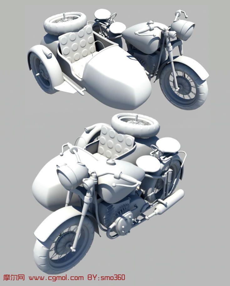 设计非常精致的双人摩托,maya模型