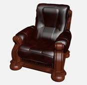 欧式皮质单人沙发3D模型