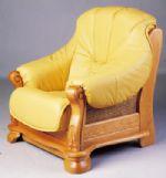 欧式木制底座皮质沙发3D模型