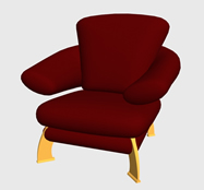 红色单人沙发3D模型