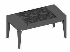 长方形雕花茶几3D模型