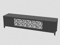 雕花电视柜,柜子3D模型