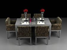 深色布艺餐桌组合3D模型