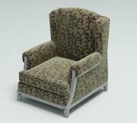 雕花布艺单人沙发3D模型