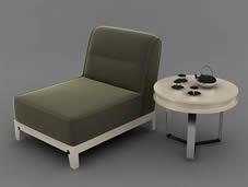 单人沙发椅,桌子,茶具,茶杯,茶壶3D模型