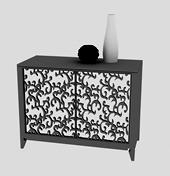 花边雕花双开门木柜,花瓶3D模型