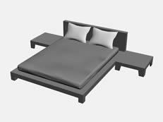 简易双人床3D模型