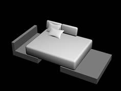 软垫沙发床3D模型