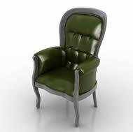 绿色真皮沙发椅,椅子3D模型