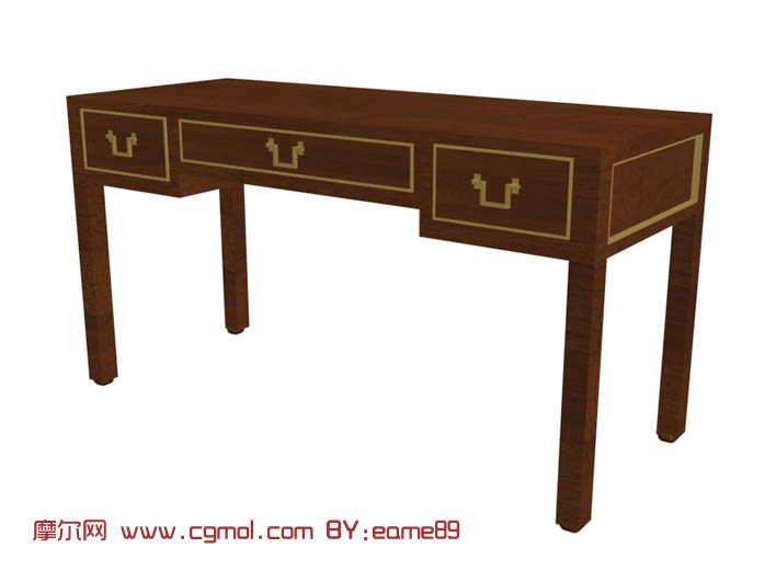 木质抽屉长方形桌子3d模型
