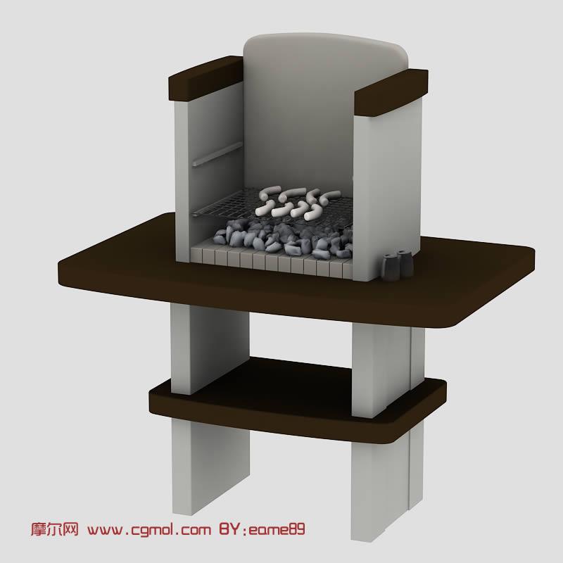 别致的烤台,烧烤台3D模型