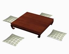 方形泰式榻,木质床榻,茶几3D模型