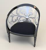 欧式雕花靠背椅,3D椅子模型