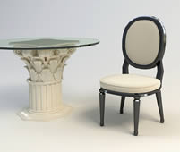 欧式石雕圆形茶几,桌子,椅子组合3d模型