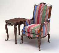 欧式条纹椅子,茶几组合3d模型