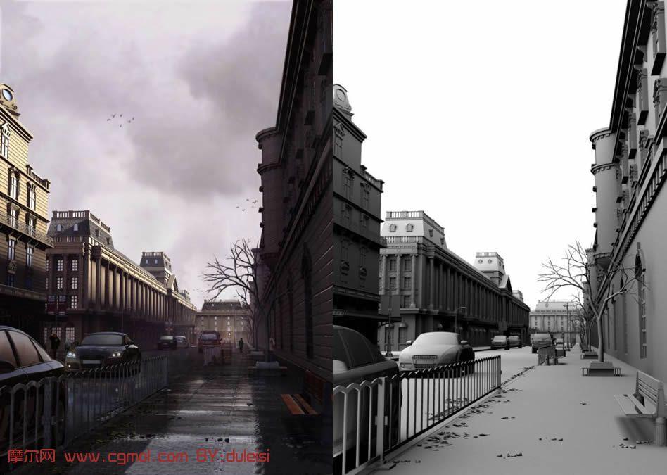 超精细国外街道场景maya模型 带贴图 高清图片