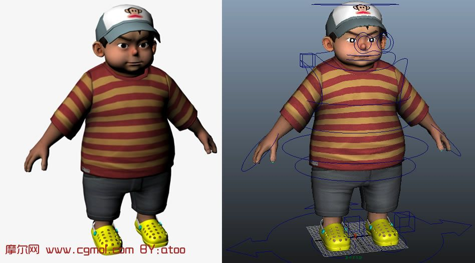 级的卡通小孩maya模型 贴图齐全,已绑定 卡通角色 动画角色 高清图片