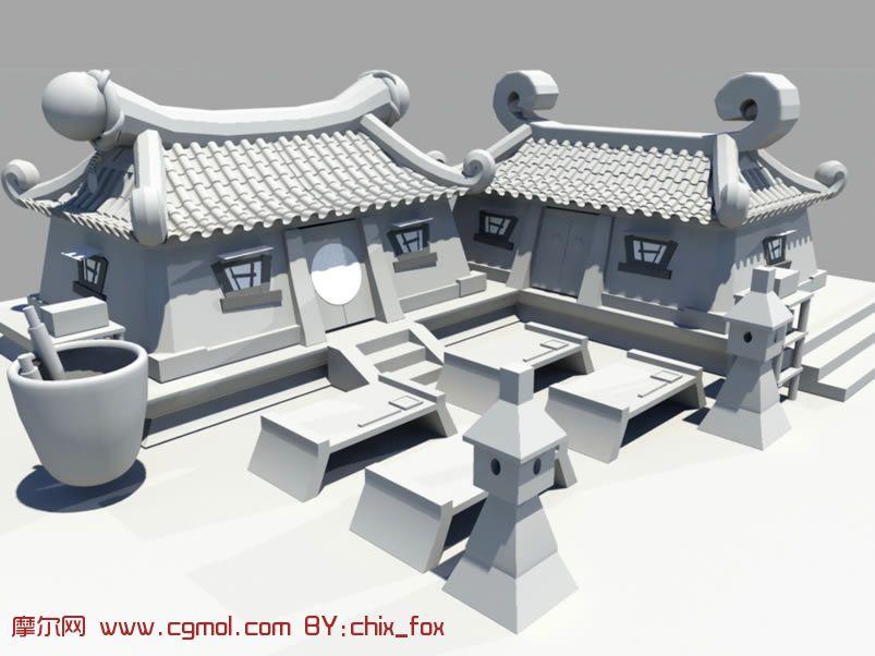 场地 maya 房屋 房子 maya模型房子高清图片
