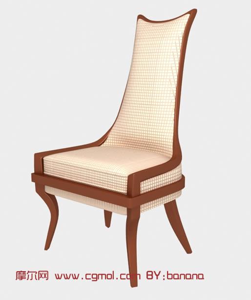 高靠背木质椅子3D模型