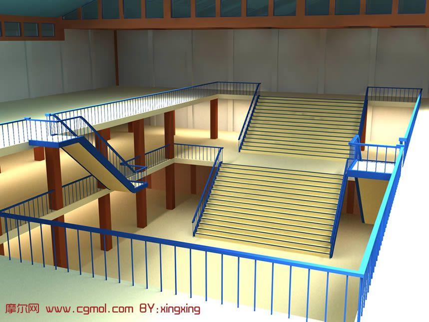三层大楼设计,学校食堂3D模型