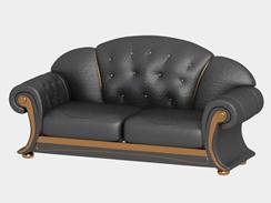 老式皮质双人沙发3D模型