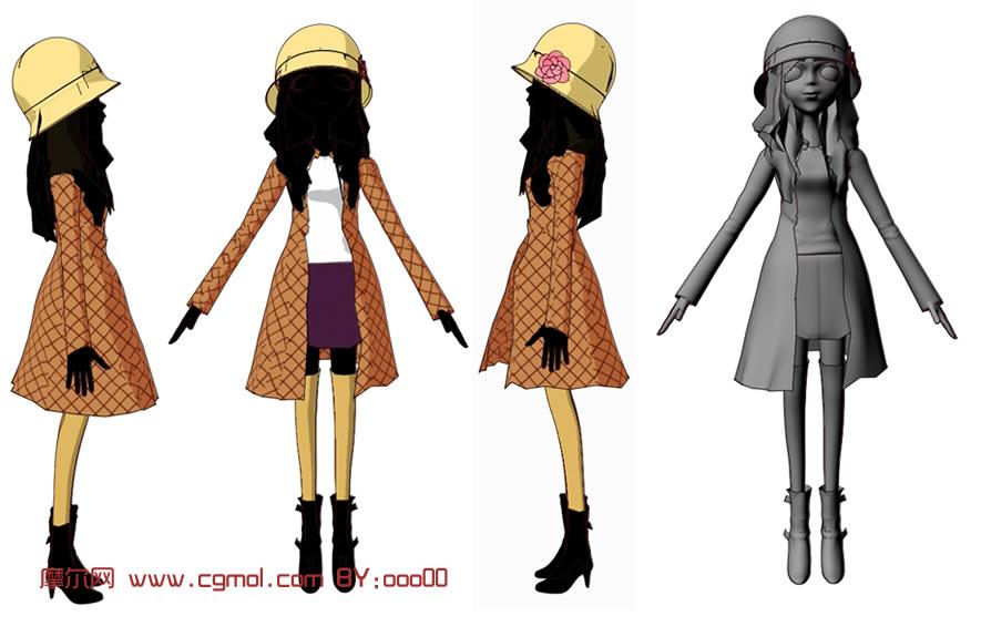 卡通二维女孩maya模型 高清图片
