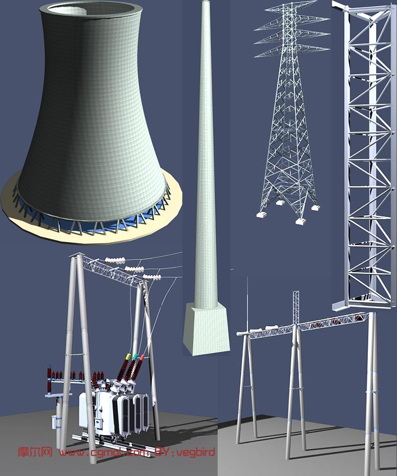 变压器,电线杆,高压设备3d模型