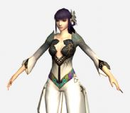 网游《诛仙》兰花装游戏角色3D模型(带骨骼)