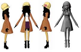 卡通二维女孩maya模型
