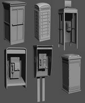 各类电话亭3D模型