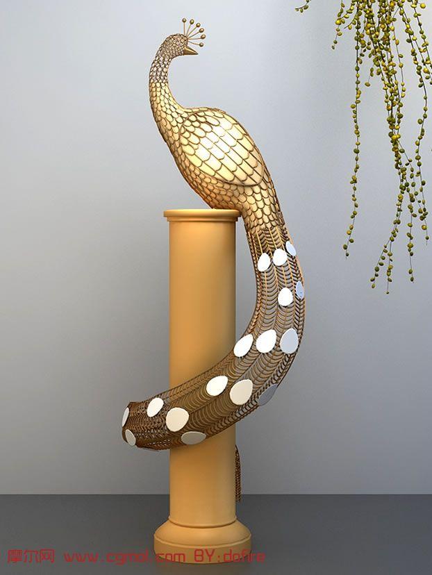 孔雀木雕艺术品,3d家居装饰品模型