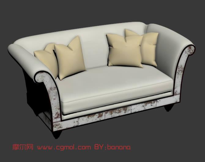 欧式白色多人沙发,3d家具模型