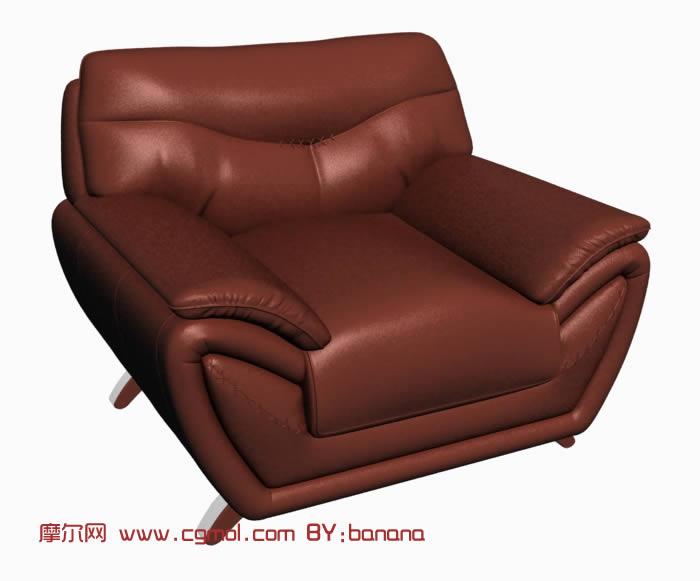 牛皮单人沙发3D模型