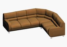 简约糖果色转角沙发3D模型