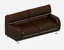 皮质双人沙发3D模型