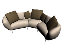 布艺沙发组合3D模型