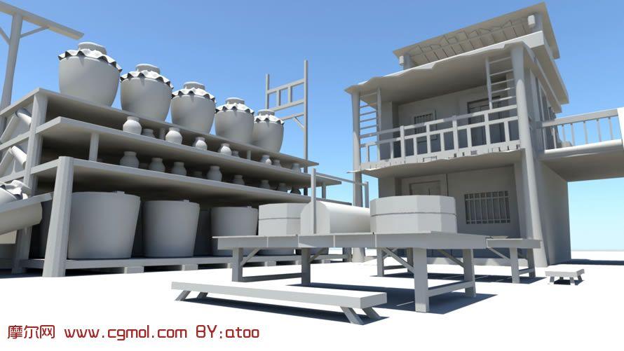 酒坊maya模型高清图片