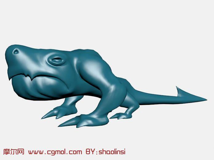 有尾巴的蓝色爬行怪物